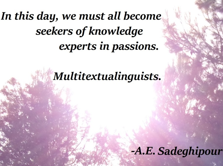 In this day, we must all become seekers of knowledge, experts in passions, multitextualinguists.